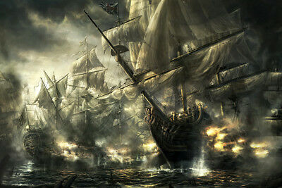 Art Giclee Print Ancient Sea War Scene Oil painting HD Printed on canvas P1121