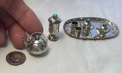 Miniature Sterling Silver Turquoise Dollhouse 11 pc Tea Set Navajo signed E.M.W.
