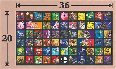 SUPER SMASH BROS ULTIMATE POSTER WALL ART - 20x36 - FREE US SHIP - THICK PAPER