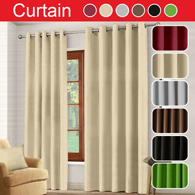 Thermal Blackout Eyelet RING TOP Door Curtain Blinds 66x 84+Free Tie Back Decor