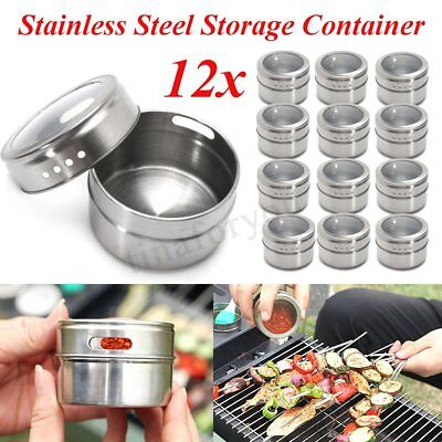 Stainless Steel Indian 12 Spice Tin Box Tandoori Masala Dabba Spices Box Storage