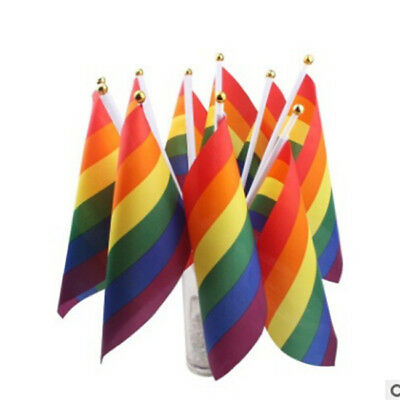 Lot Handheld Desktop Small Rainbow Flags Gay Pride With Stick 6T