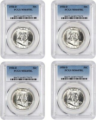 Lot of 1958-D 50c PCGS MS64 FBL (4 Coins) - Franklin Half Dollar