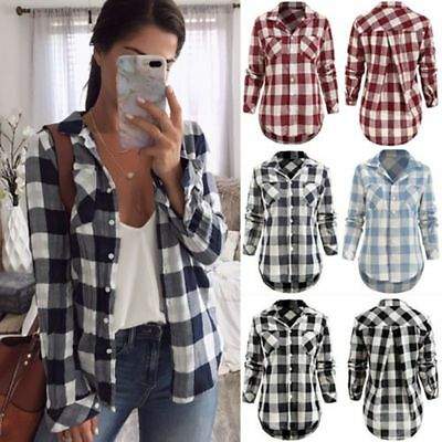 AU Women's Flannel Plaid Shirt Soft Material Relaxed Button-front Collar Neck