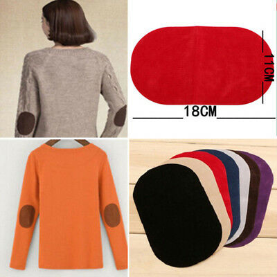 2Pcs Suede Leather DIY Repair Sewing Applique Iron-on Oval Elbow Knee Patches