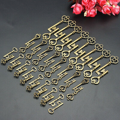 AUS 125x Bronze Keys Vintage Royal Antique Old Look Skeleton Heart Bow Shape