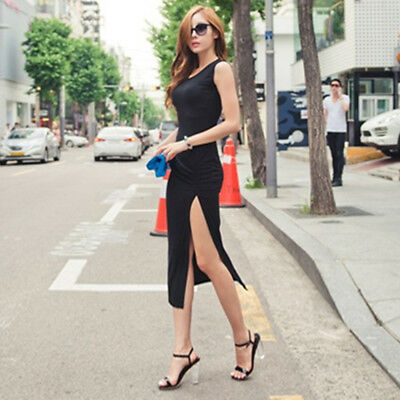 Women Solid Color Sleeveless High Side Slit Cut Out Vest Party Maxi Slim Dress Z