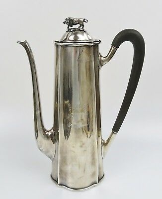 1922 Antique Shreve Crump & Low Sterling Silver Chocolate Pot W/ Bull Finial