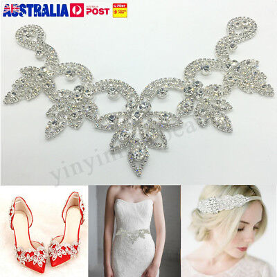 Crystal Rhinestone Applique Trims Iron on Bridal Dress Belt Head Piece V Shape