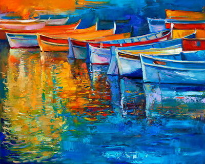 Impression Sunrise Boat Scenery Oil Painting HD Giclee Printed on Canvas P1162