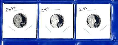 2017 S, 2018 S  AND 2019 S Jefferson Nickel Set-Gem Proof-IN STOCK-Three Coins