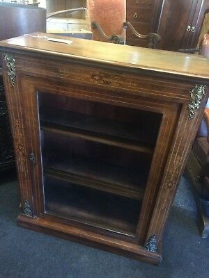 Antique Walnut Inlaid Marquetry Pier Cabinet Original Glazing on Door