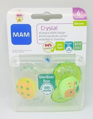 Mam Crystal Soother Twin Pack 6m+ (Flowers / Elephant) (2594)