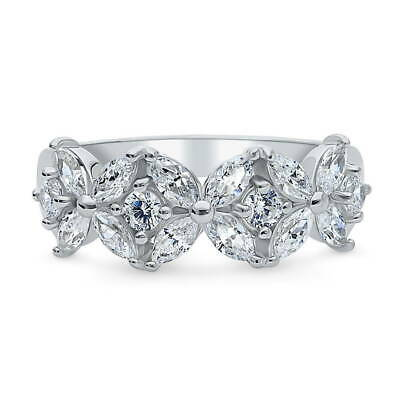 BERRICLE Sterling Silver CZ Flower Anniversary Wedding Half Eternity Band Ring