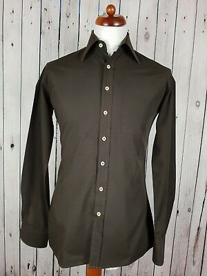 """Vtg 1980s Brown Classic Collar Fitted Polycotton Shirt Gent -14.5""""/S HP88"""