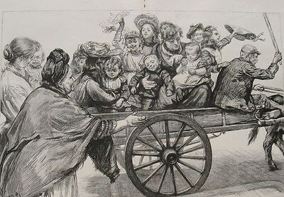 1871 Large Photogravure - London Costermonger Family- Cart Ride to Epping Forest