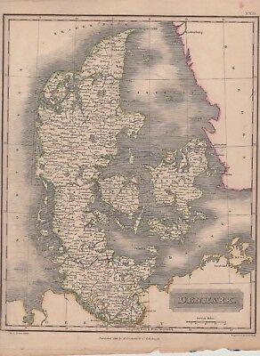 1823 Two Antique Maps - DENMARK - Engraved by Sidney Hall - George Philip