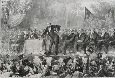 1886 Large Engraving - IRISH HOME RULE - Liberal Unionist Party Meeting
