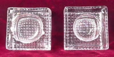 2 Antique Open Salt Cellar Dips Square Waffle Bottoms Clear Glass EAPG #46 As Is