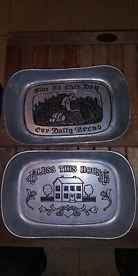 "Vintage ""Bless This House"" Pewter Tray Wilton Armetale RWP"