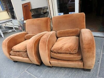 Pair Of Original Armchairs Art Deco' Rounded Years 30 Fantastic Line