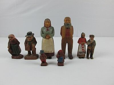 Antique Carved Wood Resin People Figures German ? Anti ? Vintage Old Figurines