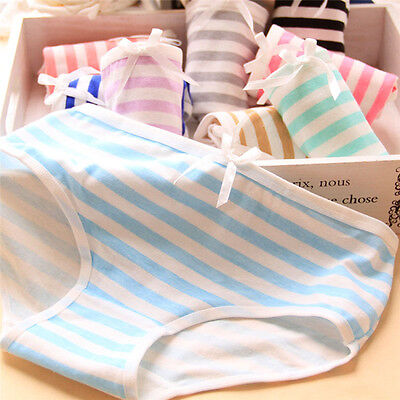 Women Lovely Cute Underwear Stripes Bow Cotton Brief Panties Hipster Underpan LD