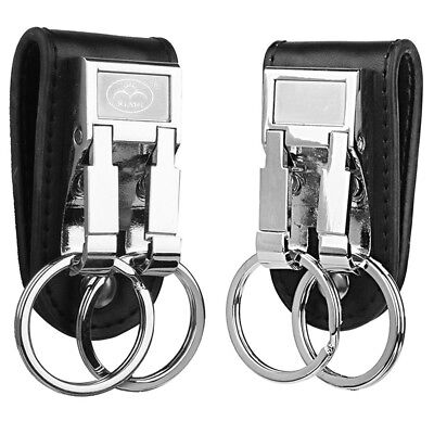 Leather Detachable Belt Buckle Clip Key Chain Keychain 2 Loops Key Ring Holder