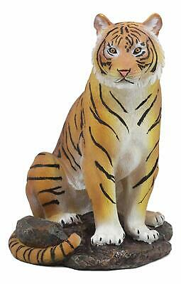 "Sitting Shiva The Bengal Orange Tiger Statue As Indian Forest Tigers Decor 9""H"