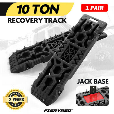 Pair 4WD Recovery Tracks 10T Off Road 4x4 Snow Mud Sand Track 10T Black 4x4