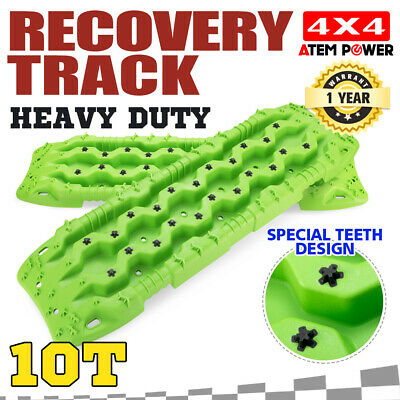 Pair Heavy Duty Recovery Tracks 10Tons Off Road 4x4 4WD Sand Snow Mud Green 10T