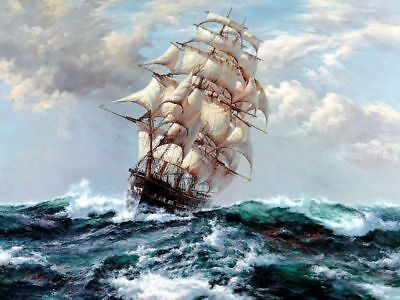 Art Giclee Print Sea voyage Ship seascape Oil painting HD Printed on canvas P110