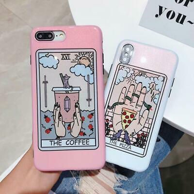Tarot Funny Phone Case iPhone Pizza Coffee Food Harajuku Vaporwave Ulzzang Dark