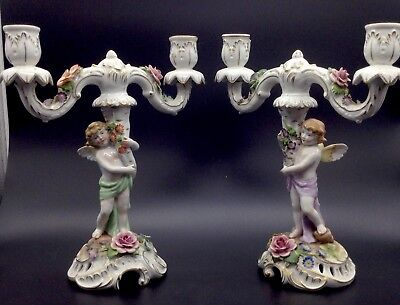 Pair Von Schierholz Angels Candelabra Candle Holders Sticks Flowers Set Germany