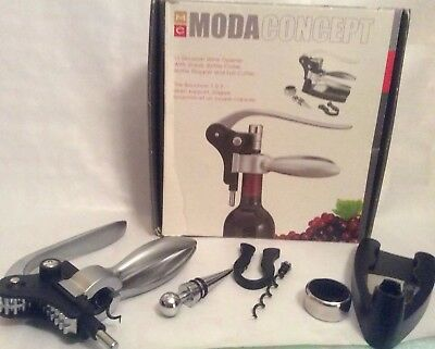 3 Second METAL WINE OPENER w/ Stand. Bottle Collar, Bottle Stopper & Foil Cutter