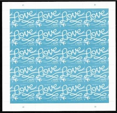 USPS Forever Stamps - Love Skywriting Blue- POSTAL FIRST CLASS Sheet of 20 New!