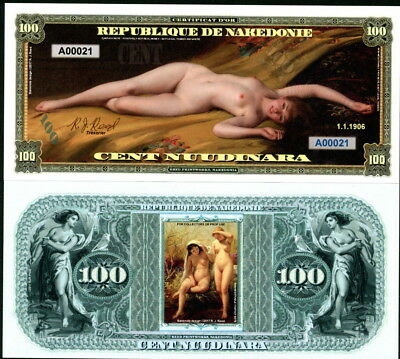 Republique De Nakedonie 100 Nuudinara Bare Naked Nude Ladies Fantasy Art Note!