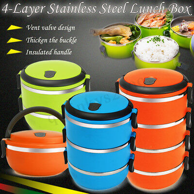 4Layers Stainless Steel Thermal Insulated Hot Lunch Box Food Container Handle AU