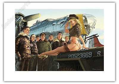 Affiche Romain Hugault Pin Up Avion et pilotes 50x70 cm