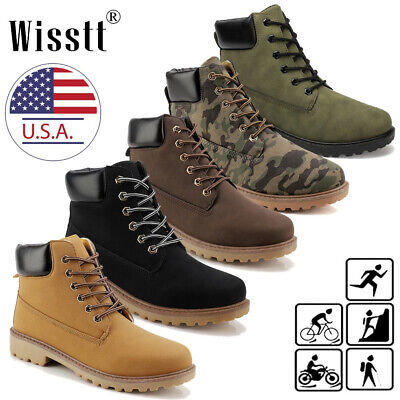 Men/'s Casual Leather   Work Boots Chukka Ankle Sport Smart Office Shoes