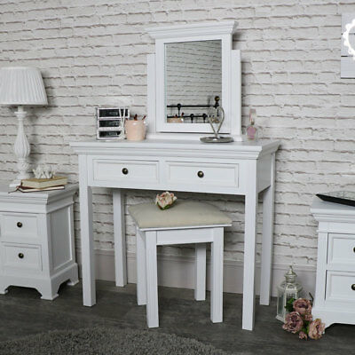 VINTAGE WHITE DRESSING table set vanity mirror stool French ...