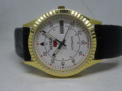 6309 Gold Pleated Seiko 5 Day&date Automatic White Color Dial Numeric Figure