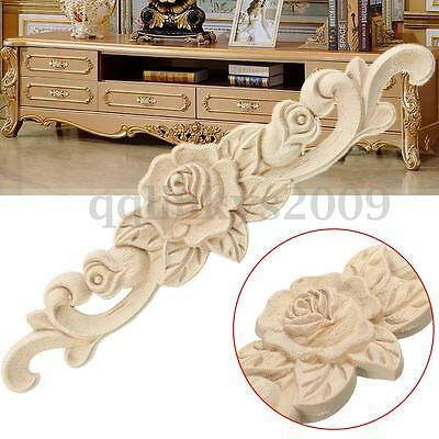 1/2/3/5Pcs 20X5cm Woodcarving Decal Onlay Applique Unpainted Flower Door Decor