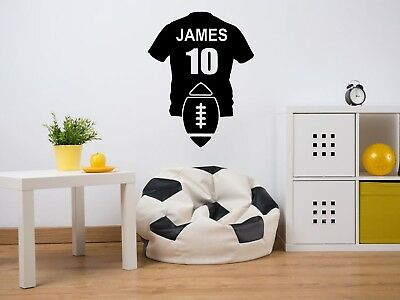 PERSONALISED Rugby Shirt Wall Art Sticker, Vinyl Decal, Sport, Adhesive