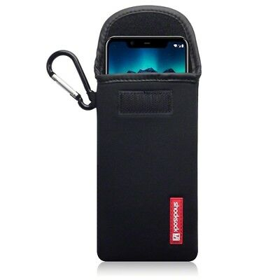 Nokia 5.1 Plus Shocksock Neoprene Soft Pouch Case with Carabiner in Black