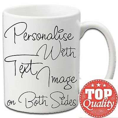 PERSONALISED TEXT PHOTO NAME MUG Gift Novelty Birthday Fathers Mothers Valentine