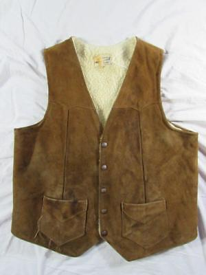 Vtg 60s 70s Simco Sherpa Lined Suede Leather Vest Rockabilly Western Brown