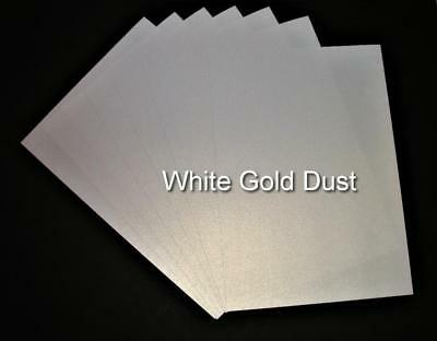A4 White Gold Dust Shimmer Card (Ice Gold) Pearlised Double Sided Card