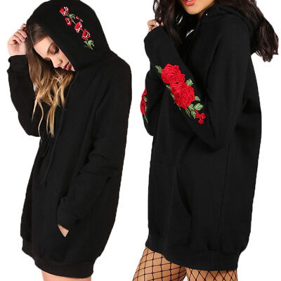 Womens Plus Size Hoodies Hooded Embroidered Sweater Pullover Jumper Mini Dress