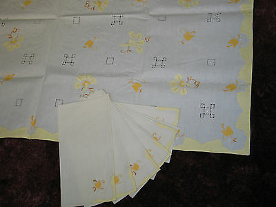 Vtg MADEIRA Embroidered Applique Linen Tablecloth 6 Napkins Tulips UNUSED-#2